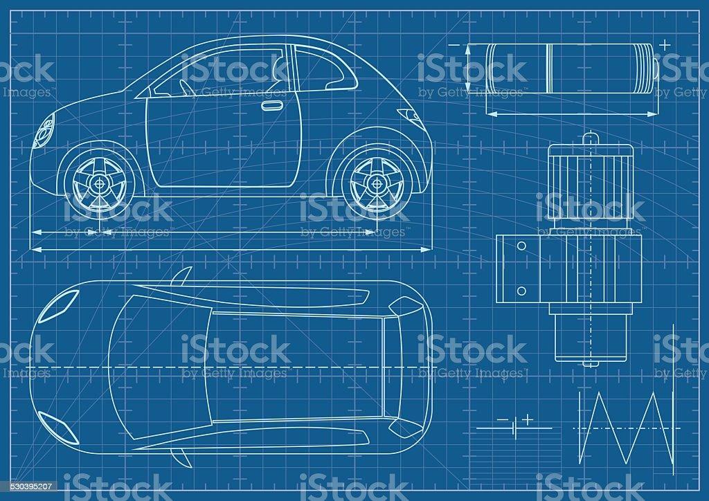 Vector eco car blueprint stock vector art more images of vector eco car blueprint royalty free vector eco car blueprint stock vector art amp malvernweather Images