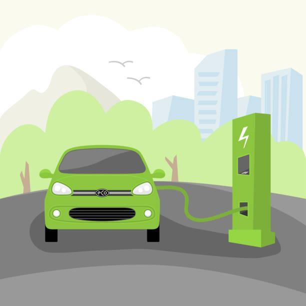 vector eco elektroauto. - elektromobilität stock-grafiken, -clipart, -cartoons und -symbole