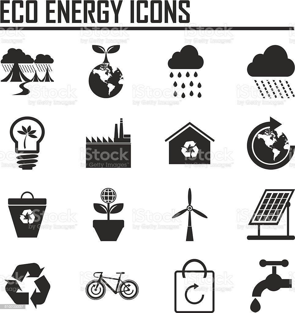 vector  eco energy icons set vector art illustration