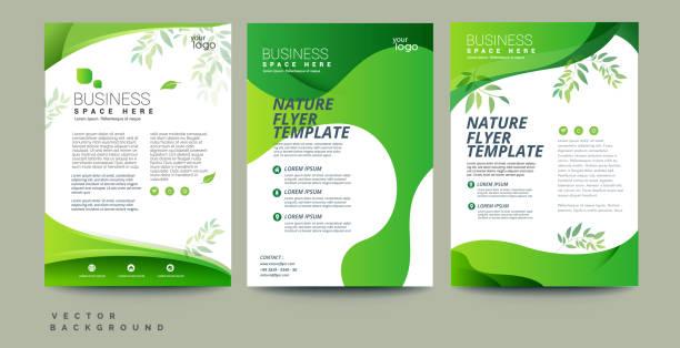 向量生態傳單,海報,摺頁冊,雜誌封面範本。現代綠葉,環境設計。- 向量 - 大自然 幅插畫檔、美工圖案、卡通及圖標