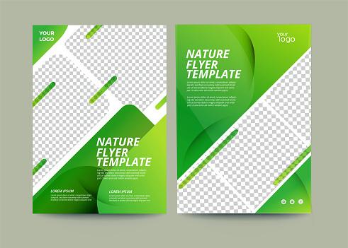 Vector eco flyer, poster, brochure, magazine cover template. Modern green leaf, environment design- Vector