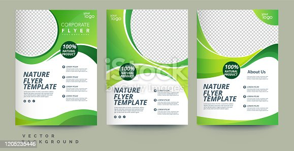 istock Vector eco flyer, poster, brochure, magazine cover template. Modern green leaf, environment design. - Vector 1205235446