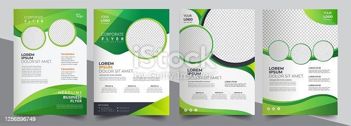 istock Vector eco flyer, poster, brochure, magazine cover template. Modern green leaf, environment design. - Vector 1256896749