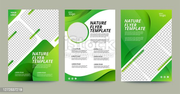 istock Vector eco flyer, poster, brochure, magazine cover template. Modern green leaf, environment design. - Vector 1272537219