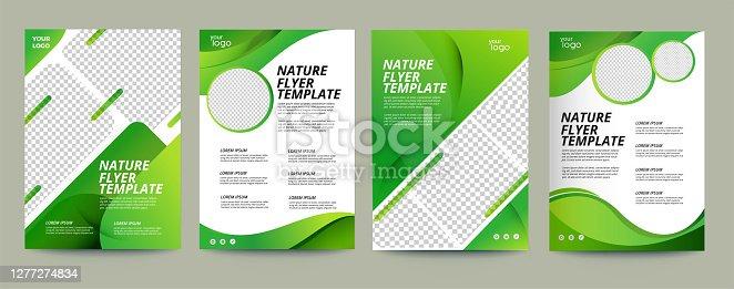 istock Vector eco flyer, poster, brochure, magazine cover template. Modern green leaf, environment design. - Vector 1277274834