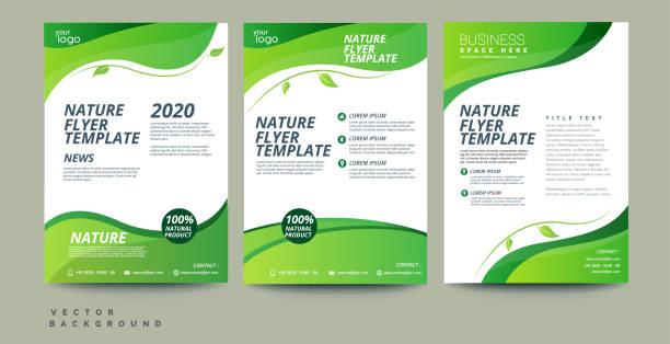 stockillustraties, clipart, cartoons en iconen met vector eco flyer, poster, brochure, tijdschrift cover sjabloon - green background