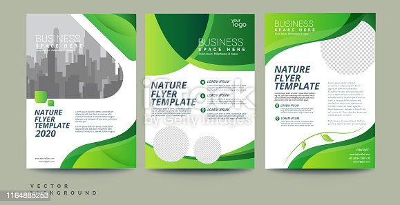 Green Flyer Brochure Leaflet Poster Cover design Layout vector template in A4 size - Vector