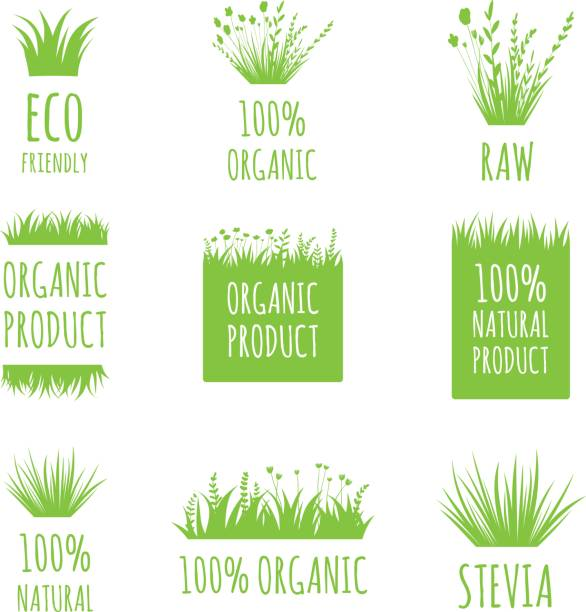vector eco friendly, 100 natural, raw, organic product labels, stickers, tags and shapes on white background. nature food, cosmetic stains set - grass stock illustrations