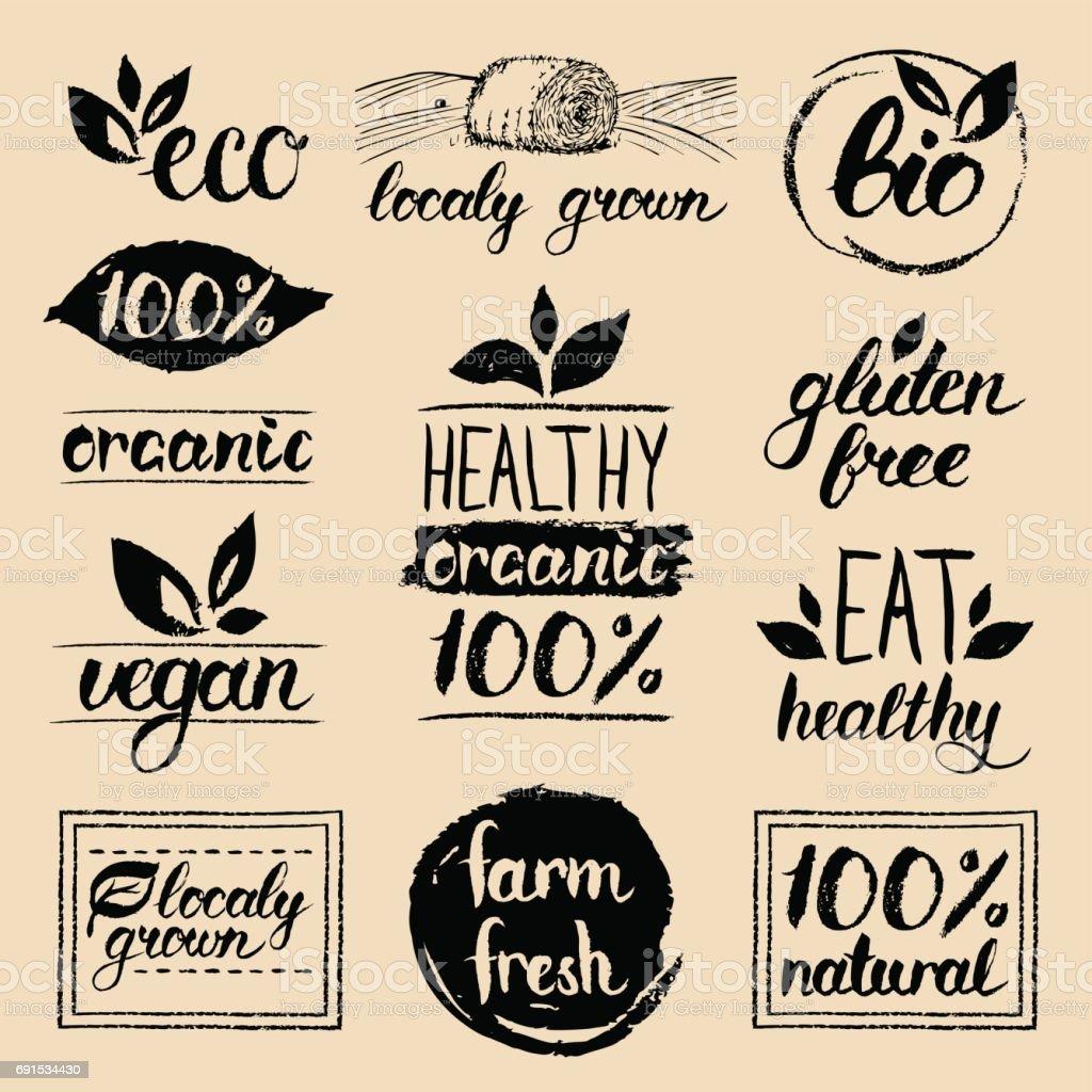 Vektor Öko Bio Biolabels Vegan Natürliche Nahrung Und Getränk ...