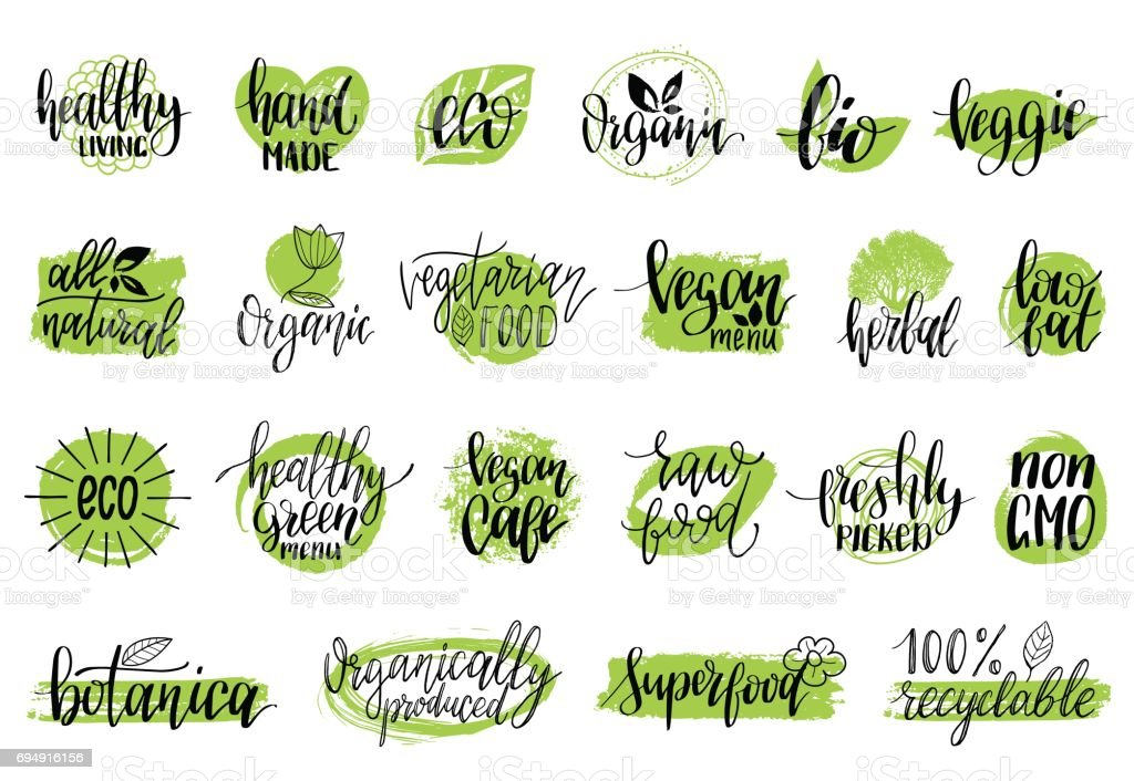 Vector eco, organic, bio signs. Vegan, healthy food illustrations set for cafe, restaurant badges, tags, packaging etc. vector art illustration