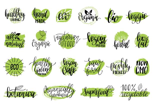 vector eco, organic, bio signs. vegan, healthy food illustrations set for cafe, restaurant badges, tags, packaging etc. - vegetarian stock illustrations, clip art, cartoons, & icons