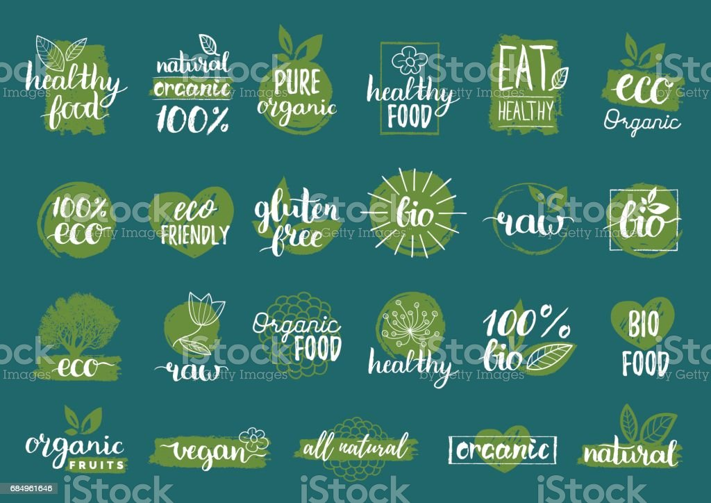 Vector eco, organic, bio signs. Vegan, raw, healthy food badges, tags set for cafe, restaurants, products packaging etc. vector art illustration