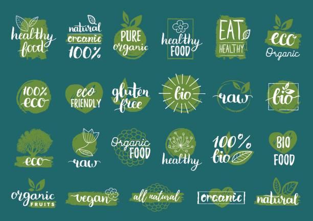 ilustraciones, imágenes clip art, dibujos animados e iconos de stock de signos de bio orgánicos, eco, vector. vegano, insignias de alimentos crudos, saludable, clave del conjunto para cafetería, restaurantes, productos de embalaje etcetera. - sin gluten