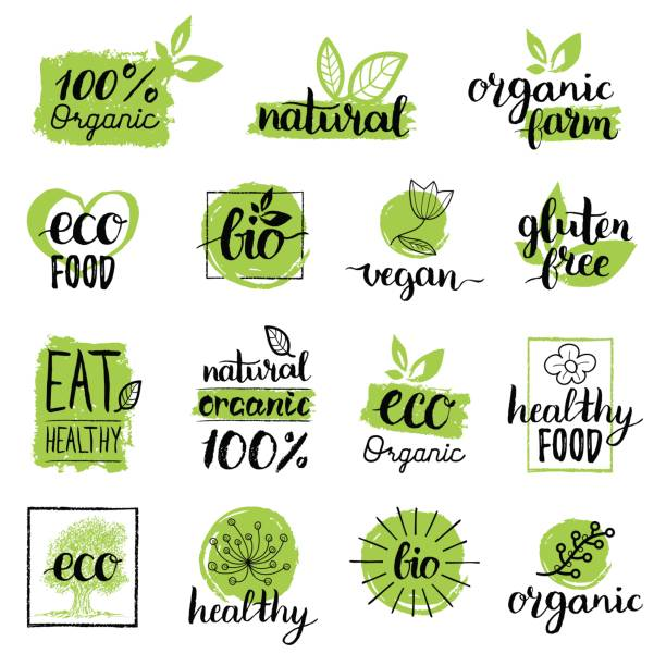 vector eco, organic, bio signs. vegan, raw, healthy food badges, tags set for cafe, restaurants, products packaging etc. - organic stock illustrations, clip art, cartoons, & icons