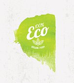 Vector Eco poster concept. Think Green Label on Watercolor background.