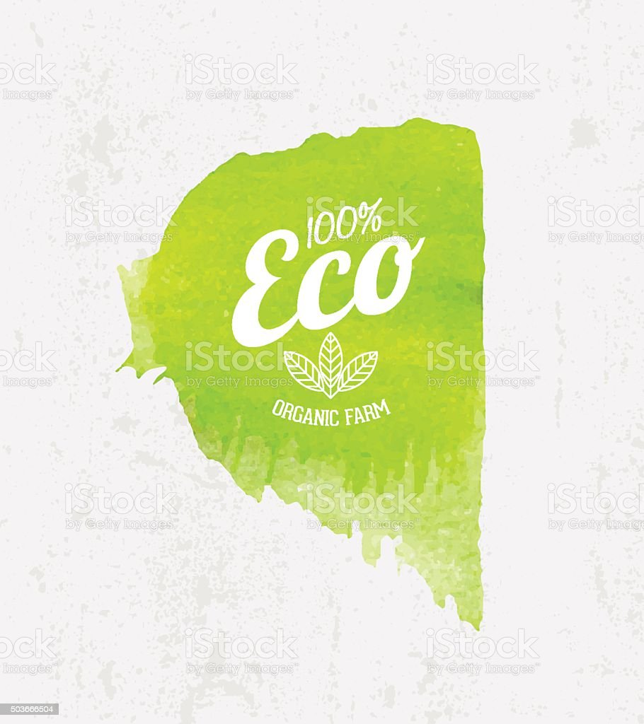 Vector Eco poster concept. Think Green Label on Watercolor background. vector art illustration