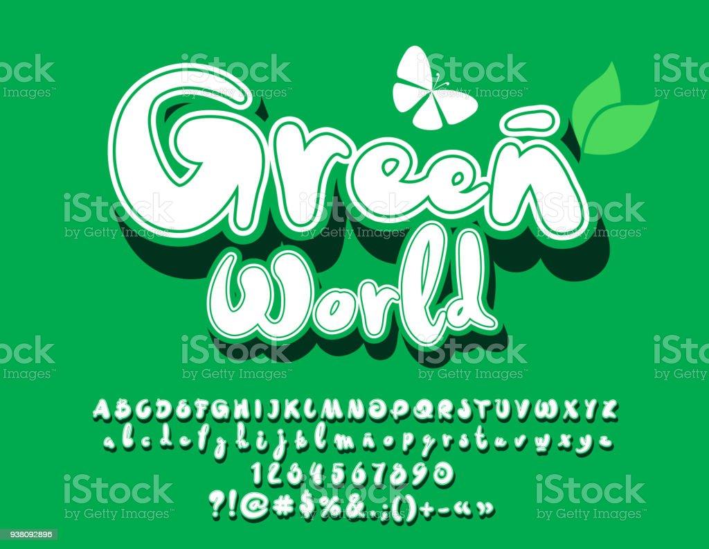 Vector Eco Zeichen Green World Mit Dekorativen Schmetterling Stock ...