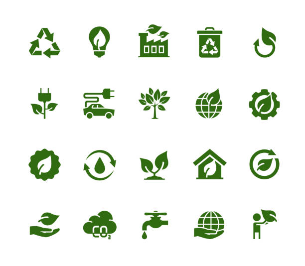 Vector Ecology and Industry Related Vector Icon Set vector art illustration