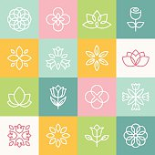 Vector ecology and organic logos in outline style - abstract design elements and signs