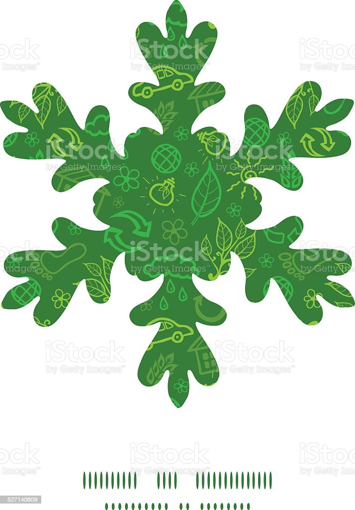 Vector ecology symbols Christmas snowflake silhouette pattern frame...
