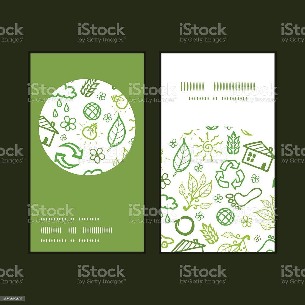 Illustration Vectorielle Des Symboles De Lecologie Monture Ronde Verticales Motif Cartes Visite Ensemble