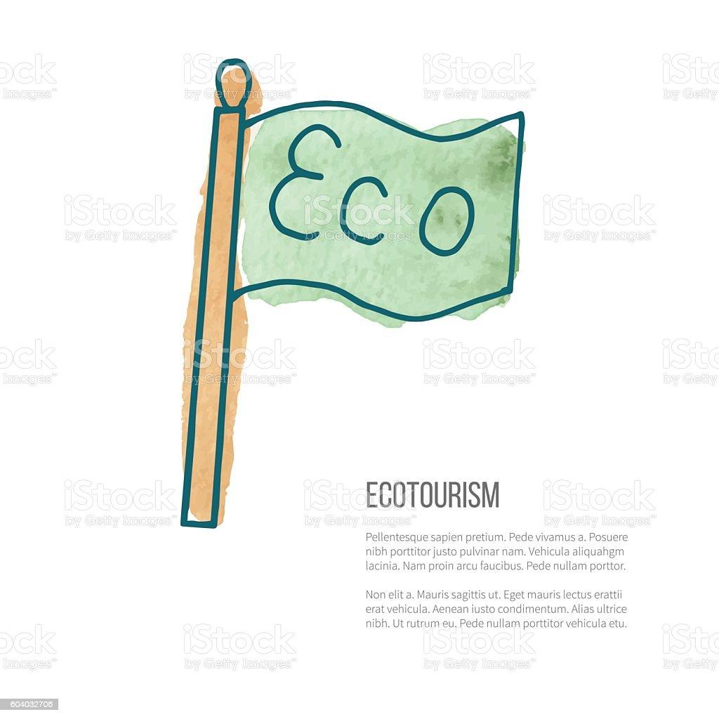 Vector ecotourism doodle on watercolor texture vector art illustration