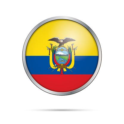 Vector Ecuadoran flag Button. Ecuador flag in glass button style.