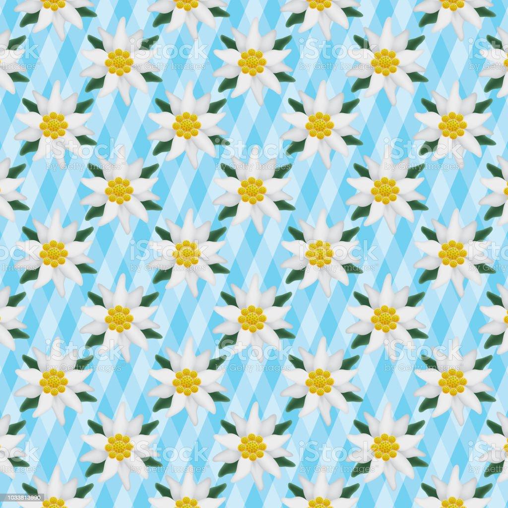 Vektor Edelweiss nahtlose Muster – Vektorgrafik