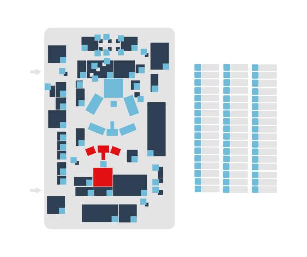 벡터 편집 가능한 평면도 캠퍼스, 사무실, 생산 홀, 축제, 쇼핑몰, 작업 장소 또는 회색의 필드와 흰색 배경에 고립 된 파란색과 빨간색 색상으로 이벤트의 지도에 적합 - 쇼핑 몰 stock illustrations