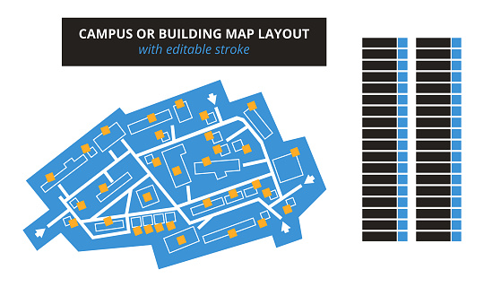 Vector editable floor plan with fields for logos or titles – blue campus or building map with editable stroke isolated on white. Suitable as a map of shopping mall, production hall, festival, shop.