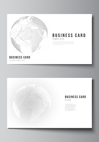 Vector editable layout of two creative business cards design templates. Futuristic geometric design with world globe, connecting lines and dots. Global network connections, technology digital concept.