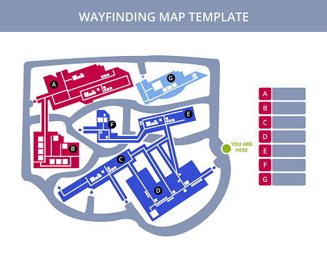 Vector editable outdoor wayfinding map of campus or floor plan with a road with fields for logos, titles isolated on white. Suitable as a map of campus, hospital, medical center, event, festival, etc.