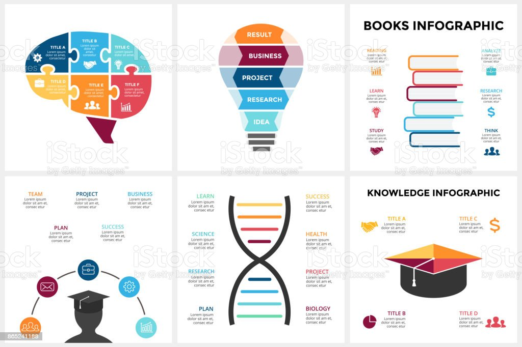 Vector education brain infographic. Template for human mind diagram, knowledge graph, creative idea presentation, science chart. Business books literature concept with options, parts, steps. Puzzle jigsaw, light bulb, DNA vector art illustration