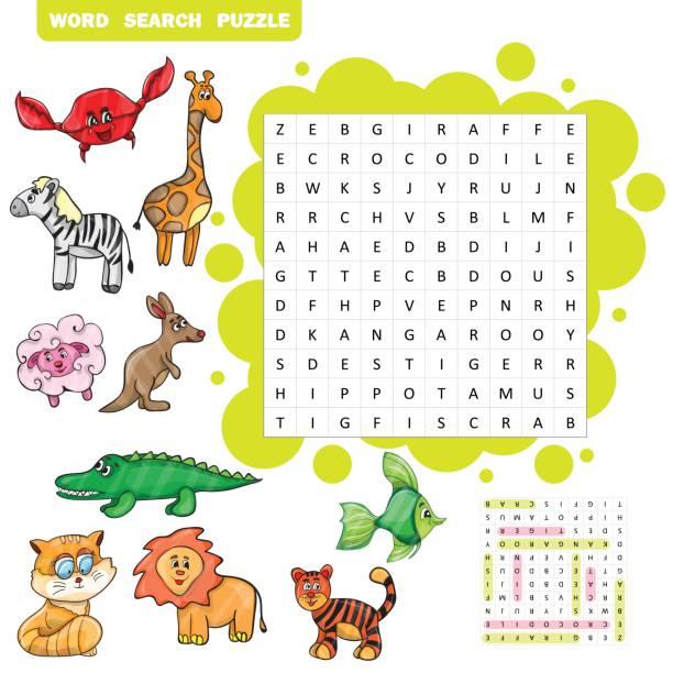 ilustraciones, imágenes clip art, dibujos animados e iconos de stock de educación para los niños sobre los animales de vectores-rompecabezas de búsqueda de palabra - fiesta en la oficina