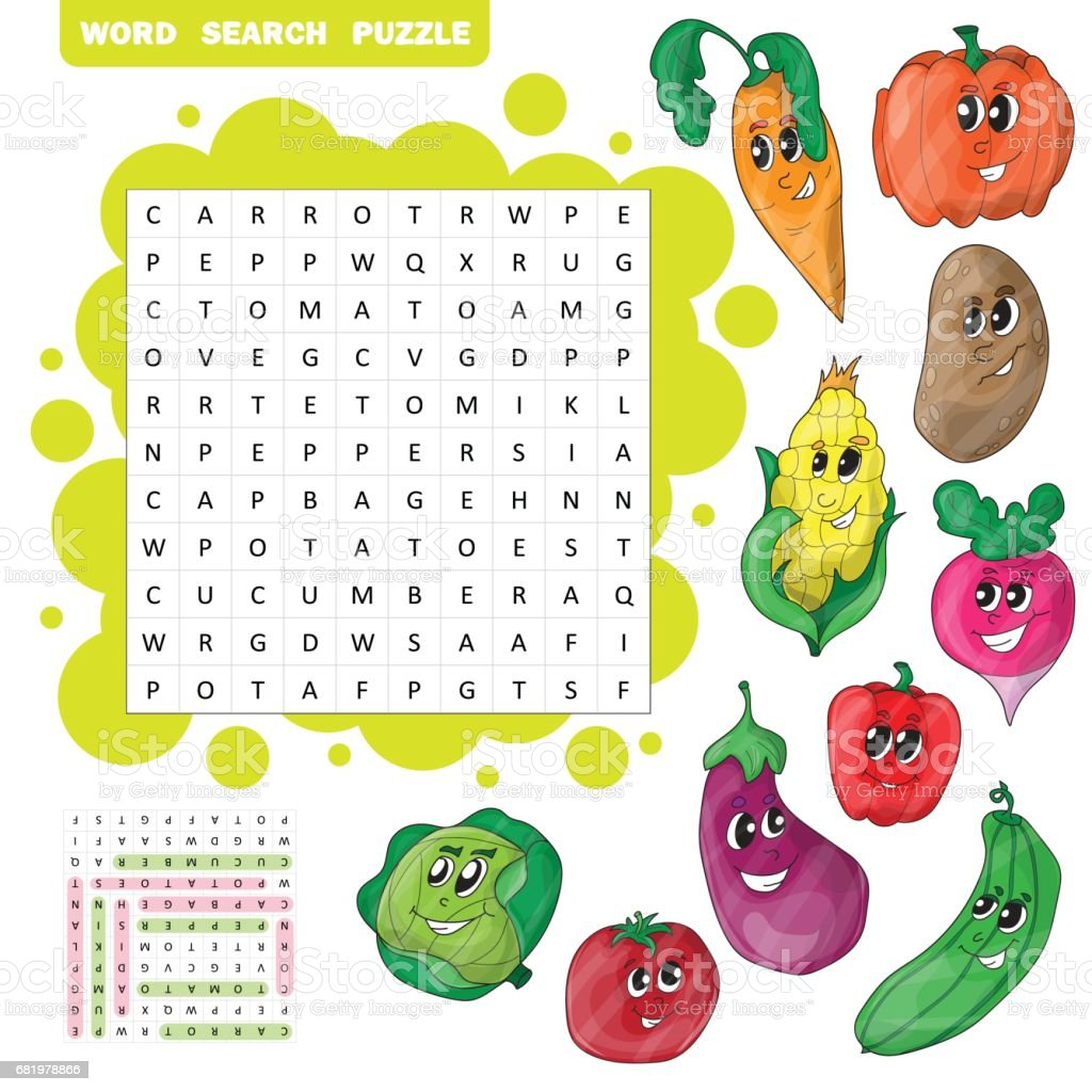 Vector education game for children about vegetables. Word search puzzle vector art illustration