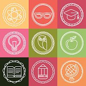 Vector education icons and logos in outline style