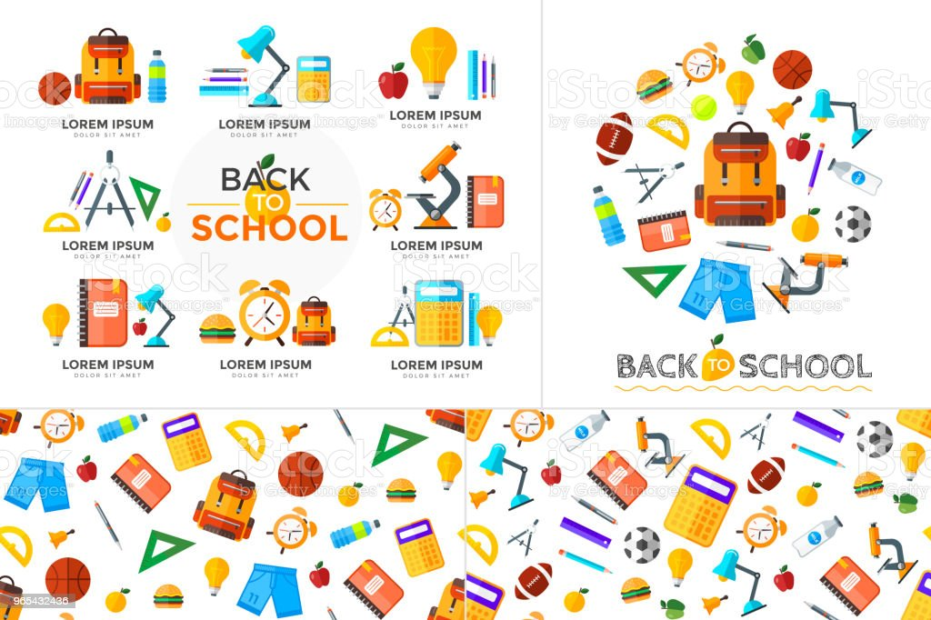 Vector education icons set. High school object in flat style on dark vector education icons set high school object in flat style on dark - stockowe grafiki wektorowe i więcej obrazów alarm royalty-free
