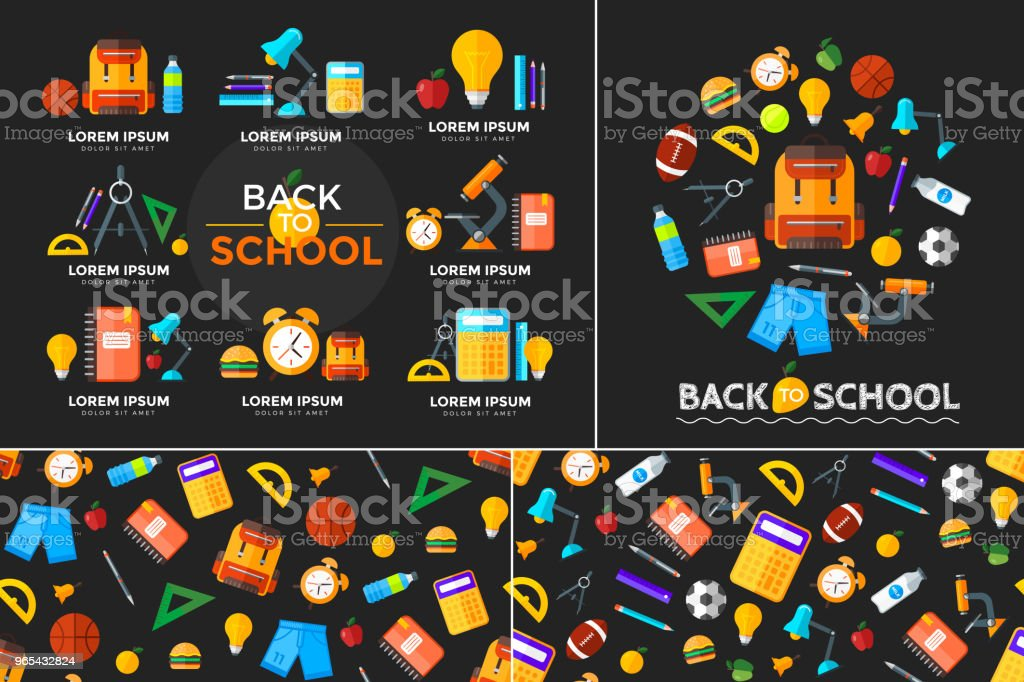 Vector education icons set. High school object in flat style on dark royalty-free vector education icons set high school object in flat style on dark stock vector art & more images of alarm