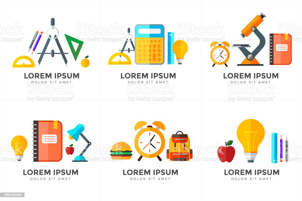 Vector education icons set. High school object in flat style on white royalty-free vector education icons set high school object in flat style on white stock vector art & more images of alarm