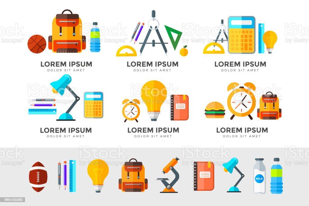 벡터 교육 아이콘 설정합니다. 화이트 플랫 스타일에 고등학교 개체 - 로열티 프리 가방 벡터 아트