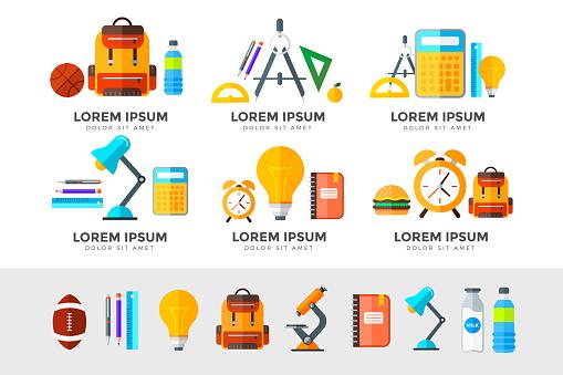 벡터 교육 아이콘 설정합니다 화이트 플랫 스타일에 고등학교 개체 가방에 대한 스톡 벡터 아트 및 기타 이미지