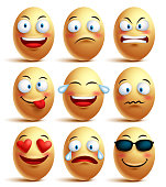 Vector egg face set of emoticons with emotions and expressions