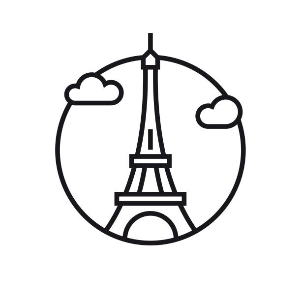 Vector Eiffel tower - Outline Icon Eps10 vector illustration with layers (removeable) and high resolution jpeg file included (300dpi). eiffel tower stock illustrations