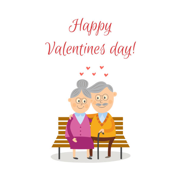 vector elderly couple in love at valentine s day - old man kissing stock illustrations, clip art, cartoons, & icons