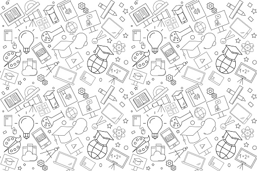 Vector e-learning pattern. E-learning seamless background clipart
