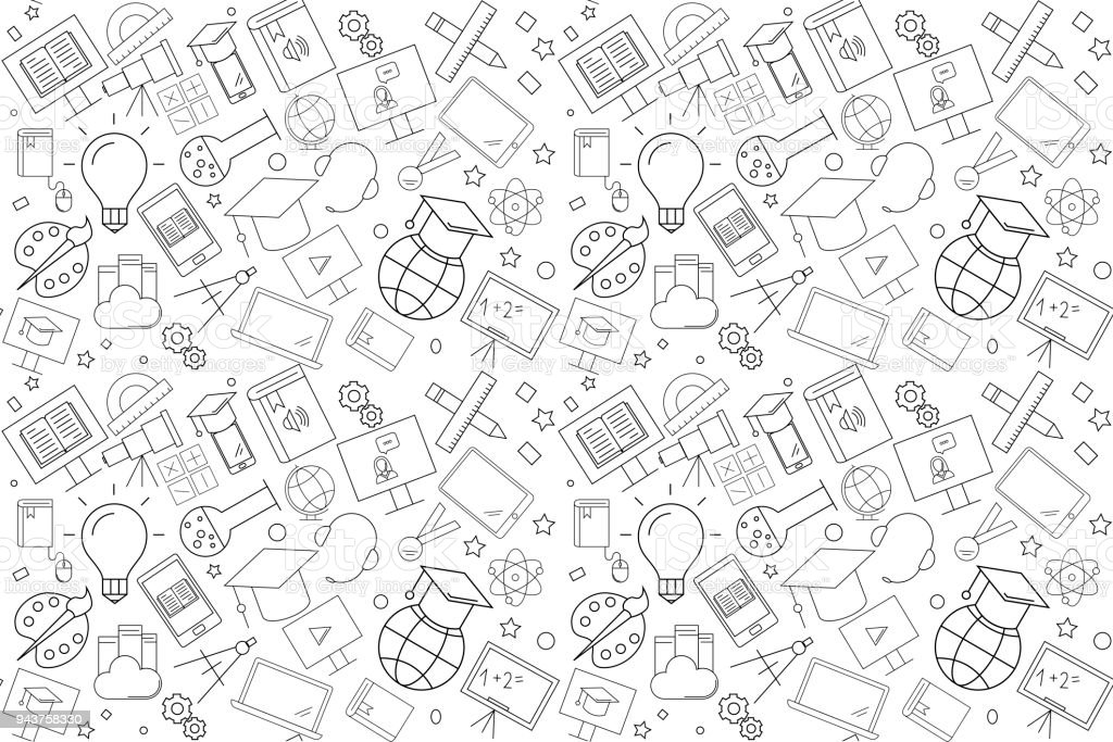 Vector e-learning pattern. E-learning seamless background vector art illustration