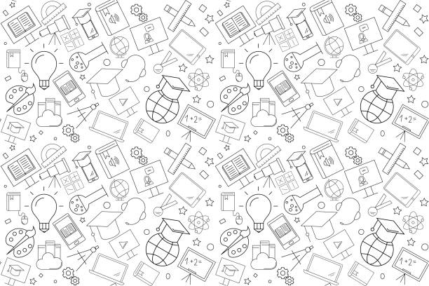 vector e-learning pattern. e-learning seamless background - school stock illustrations