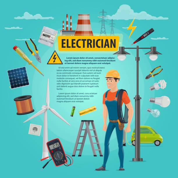 ilustrações, clipart, desenhos animados e ícones de cartaz de homem do vetor electircian profissão - eletricista