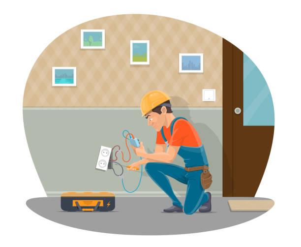 ilustraciones, imágenes clip art, dibujos animados e iconos de stock de vector electircian reparación diseño plano toma - amperímetro
