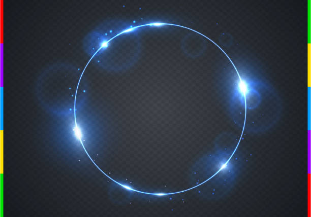 Vector electric blue frame with light effect flare and sparks. Shining round Christmas cold banner. Frozen glow ring isolated on black transparent background. Vector illustration Light effect ring on transparent background light effect stock illustrations
